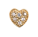 Heart - Brass or Gold & CZ Charm